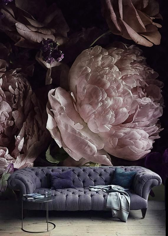 Special Sale!! Dark Watercolor Peony Wallpaper Removable Large Scale Floral Wall Mural Pink Lilac Blossoms Self-adhesive Wall Art