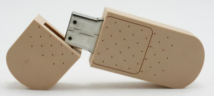 """Learn about pharmaceutical and medical USB drives like the """"band-aid"""". #USBPromos #customshape #USB"""