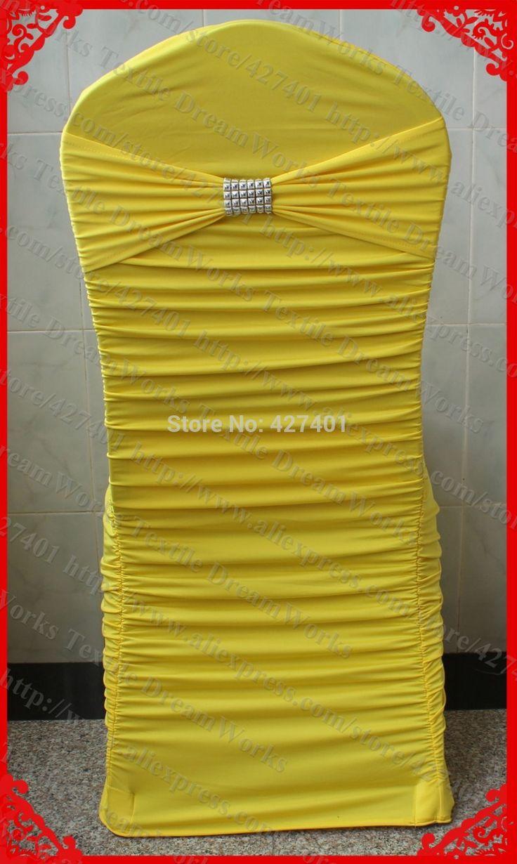 № 26 лимонно-желтый раффлед лайкра / спандекс крышка стула с группой и серебро ен в сетка пряжки ( без на липучке ) для свадебного украшения