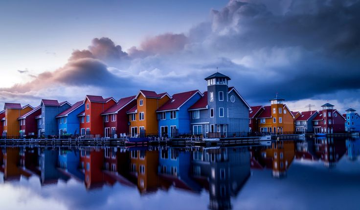 Man Made Town  House Colorful Canal Netherlands Reflection Wallpaper
