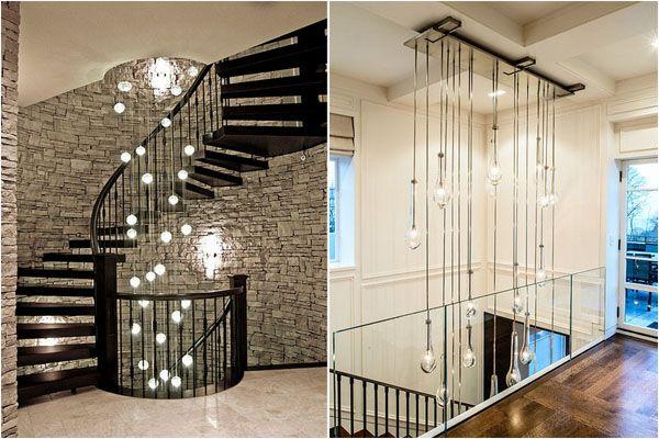 каскадная люстра освещение для лестничных пролётов