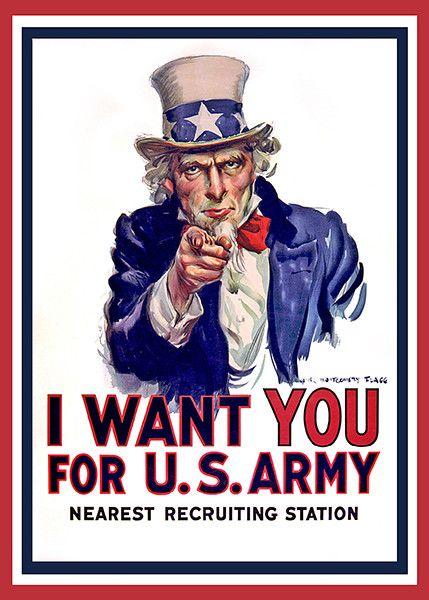 World War I - Uncle Sam - I Want You - Patriotic Poster