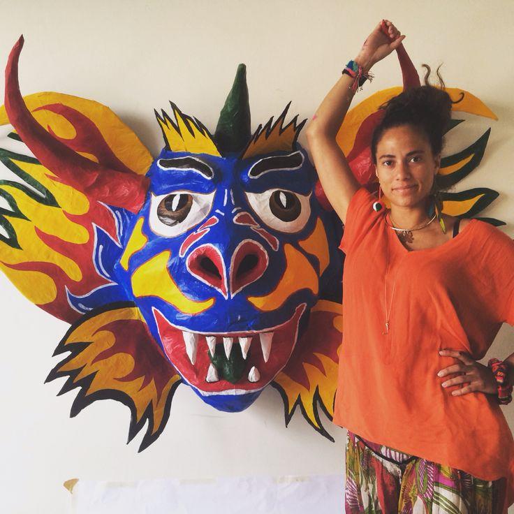 Tribal mask inspired from the Diablos De Yare. #venezuela #orgullovenezolano #colors #papiermache