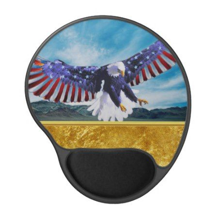 American flag Eagle flying in the sky gold foil tap/click to personalize or buy right now! a custom gold texture mouse pad #baldeagles #patrioticdesigns #Americanflag #4thOfJuly