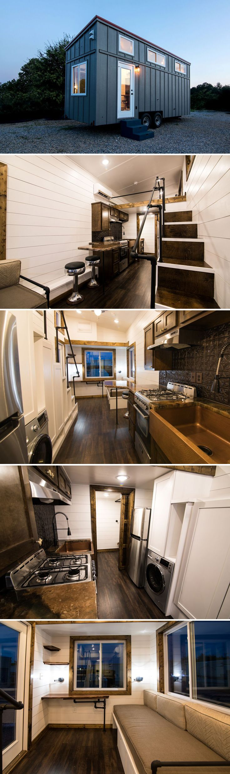 From Harmony Tiny Homes is the Hyacinth, a 24-foot tiny house on wheels with a gorgeous kitchen featuring a custom made granite countertop and bar stools.