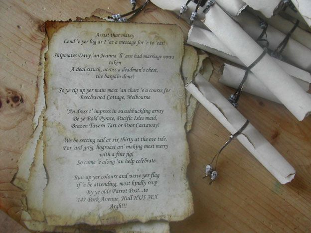 Nothing but old style pirate scrolls will do for a pirate themed wedding!