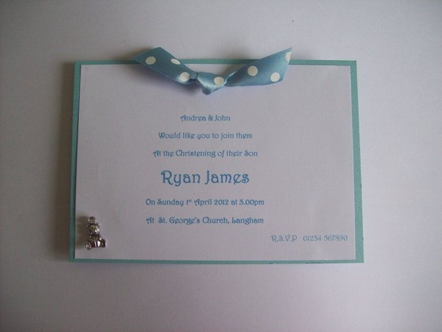 Handmade Christening Invitations - Pink, Blue or Ivory  - Pack of 10 £12.00