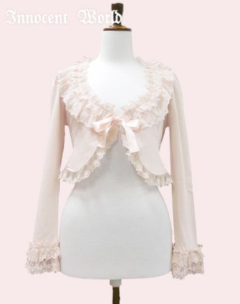 Innocent World - Rose Lace Millefeuille Bolero. Pink×Pink