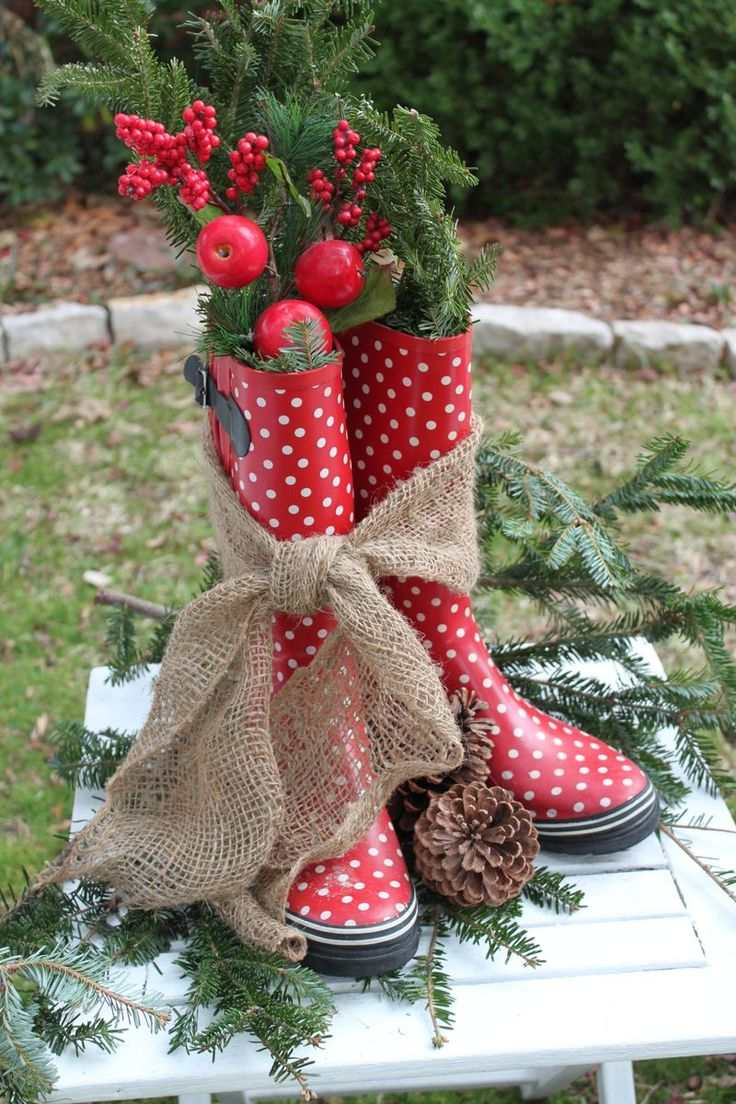 Cute Idea for Front Porch-Holiday Rain Boots
