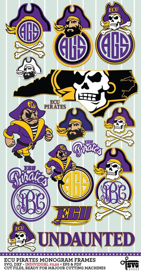 NEW extended ECU Pirates Monogram Frames Logos SVG, DXF, EPS, PNG cut files