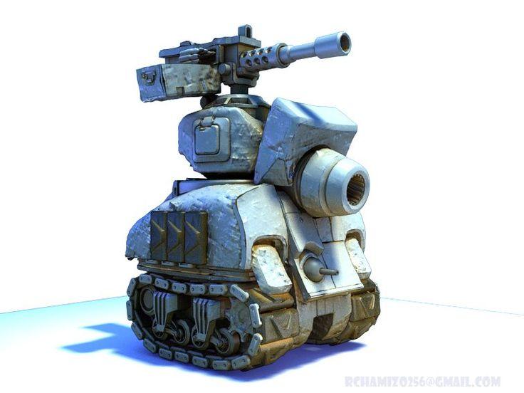 Chibi Sherman tank, Ricardo Chamizo on ArtStation at https://www.artstation.com/artwork/gJ6O8