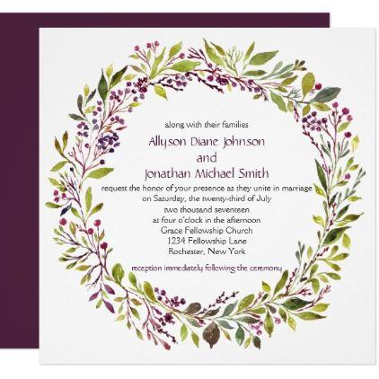Dusty Purple Berries Greenery Wreath Wedding   Card - wedding invitations diy cyo special idea personalize card