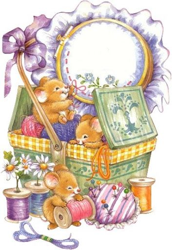 MICE COUNTRY SEWING BASKET