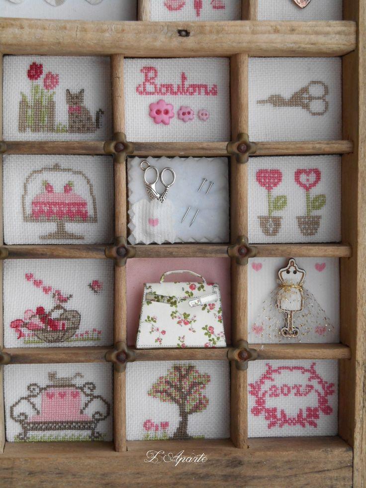 Mon casier, ciseaux, fleurs, sac, gâteau... Point de croix et lin
