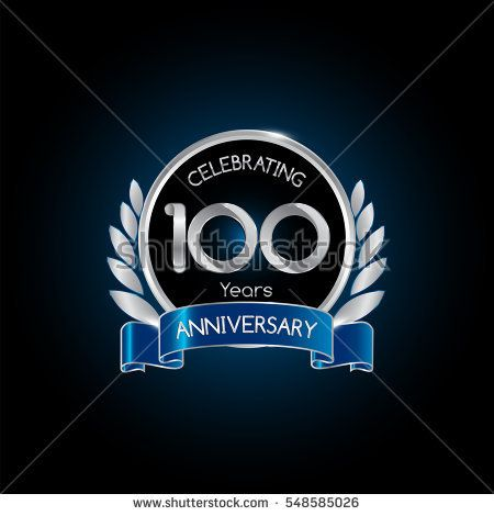 100 years silver anniversary celebration logo with blue ribbon , isolated on dark background