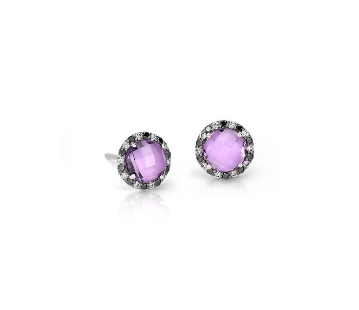Blue Nile Amethyst and Micropave Diamond Stud Earrings in 18k White Gold (5mm)
