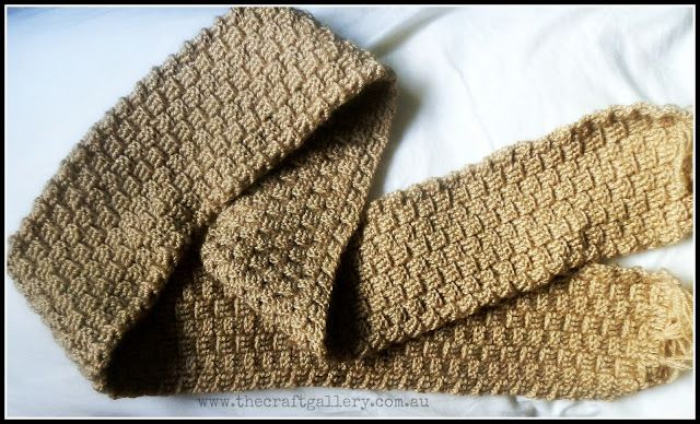 The Craft Gallery Basket Weave Crochet Men Scarf Sew