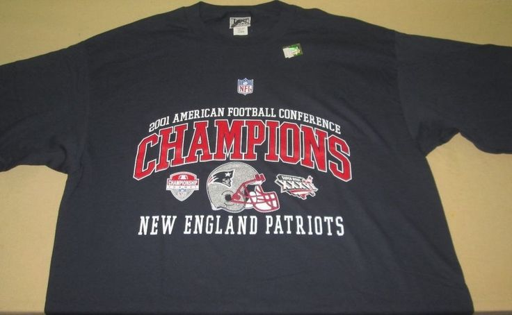 Vntg 2001 NEW ENGLAND PATRIOTS NFL T Shirt Sz XL - Blue - Super Bowl XXXV - NEW #LEE #NewEnglandPatriots