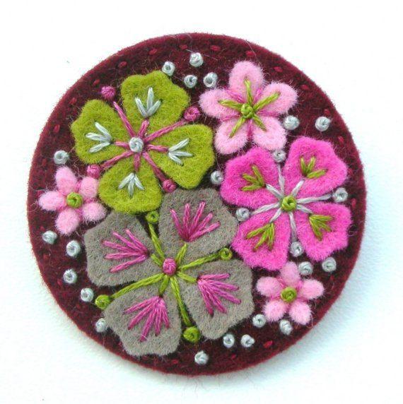 WEDDING FAVORS, 10 'SUMMER Rain' Felt Brooch Pins With Freeform Embroidery, Free Shipping. £95.00, via Etsy.