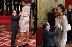 President Francois Hollande awards the basketball player Sandrine Gruda. Yes they ARE the same species.