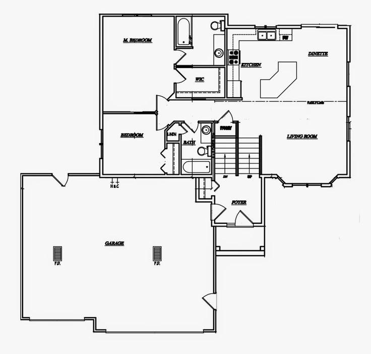 Bi level floor plan upstairs floor plans pinterest for Small bi level house plans