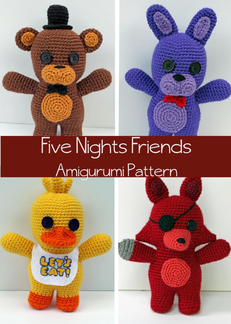 Crochet Pattern: Five Nights at Freddy's Friends by MilesofCrochet