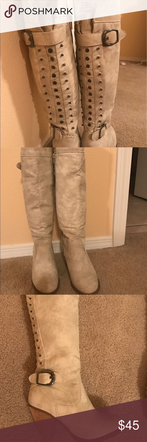 Not Rated boots size 7 Cream colored Not Rated boots with size buckles and hardware up the back of boot. Cowboy like heel. Size 7 Not Rated Shoes Over the Knee Boots