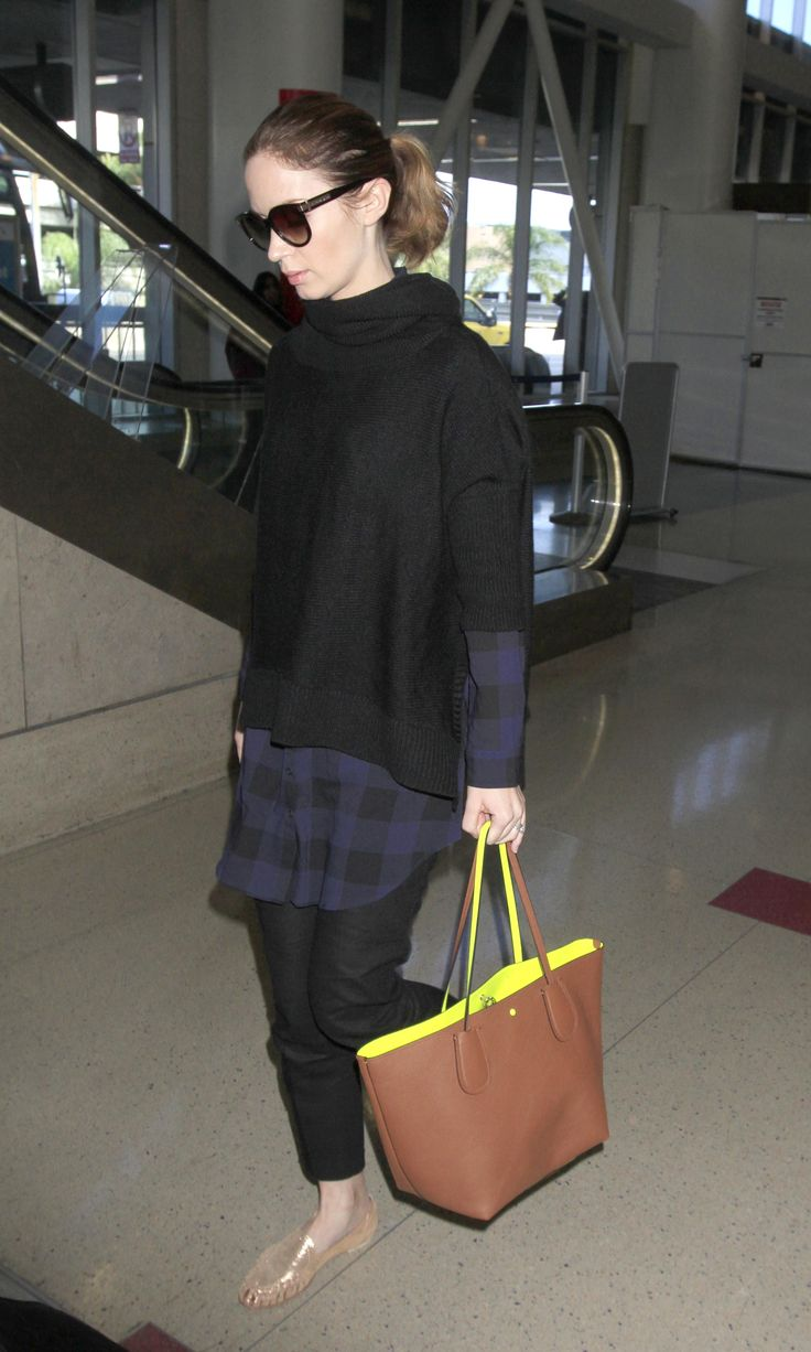 Spotted in Coach: Emily Blunt with the C.O.A.C.H. Taxi Tote in Double Faced Pebble Leather (Photo credit: Splash News)