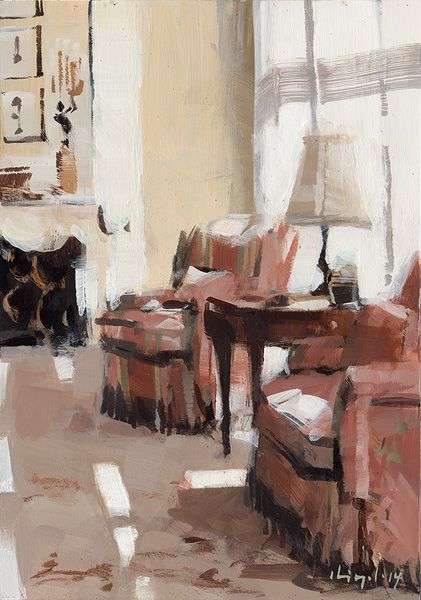 Wow, how the light is captured in this painting is amazing! David Lloyd, Living Room II