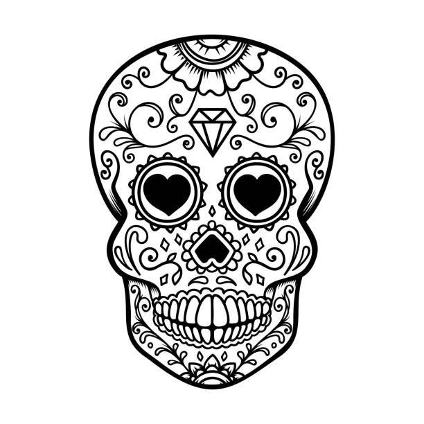 Royalty Free Sugar Skull Clip Art Vector Images Illustrations Sugar Skull Stencil Sugar Skull Illustration Sugar Skull Banner