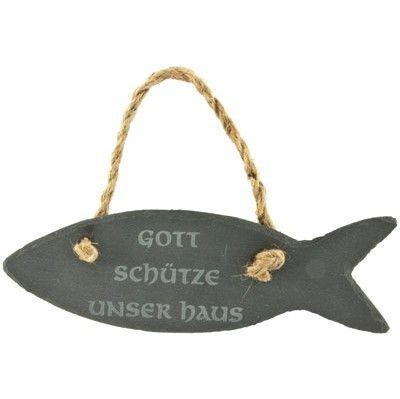 Schild mit #Haussegen aus #Schiefer mit dem #christlichen Motiv vom #Fisch (#Ichthys) …