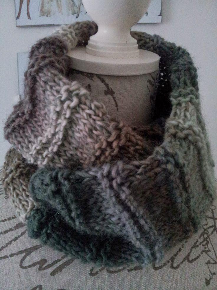 40.- Cuello doble con lana matizada / Double Cowl with multi colored print yarn - Yo tejo... nosotras tejemos