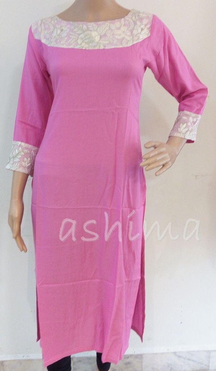 Code:1111161 - Rayon kurti With Embroidered Yoke, Price INR:1590/-