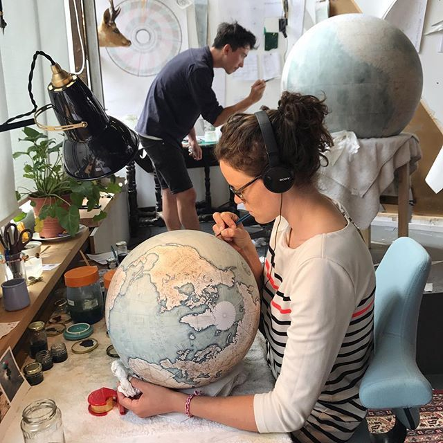 Sara started off renting a desk space from us & now splits her time between her own art & painting globes with us. . When we went on a group trip to France a couple weeks ago she gave the most epic speech telling each person what she loved about them & what makes them special. . Sara... soberly this is just a start. . Sara.. you bring the bubbles to the party. You are unique, quirky & unconfined. You speak & act from the heart. You are kind & generous. You help to bring people together. We…
