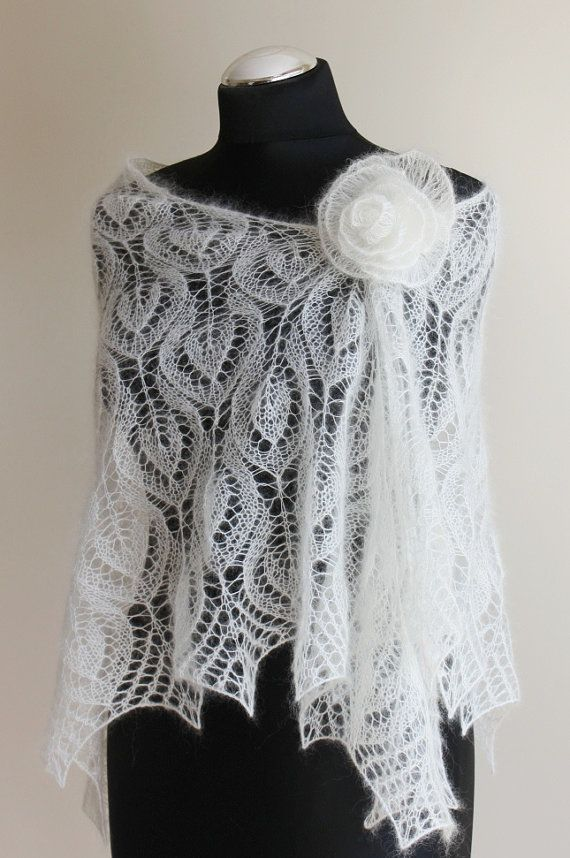 bridal knitted lace ivory shawl in mohair and silk