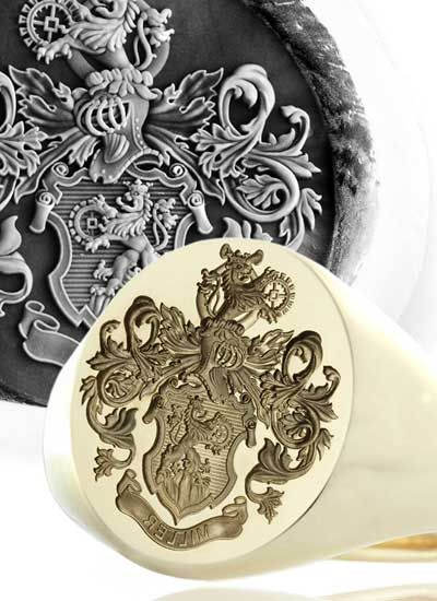 Highly Ornate Seal - Engraved on a Very Large Signet Ring