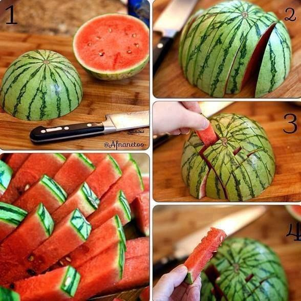 Kara's Review: I did this... on accident. But it's a good way to cut it! I cut the whole rind off first though. Use a good knife if you're doing it that way.......Watermelon fries