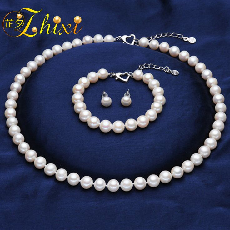 Find More Jewelry Sets Information about ZHIXI NEW brand natural pearl Bridal Jewelry Sets,8 9 near round pearl necklace/bracelet/earrings for lover T023,High Quality Jewelry Sets from zhixi official store on Aliexpress.com