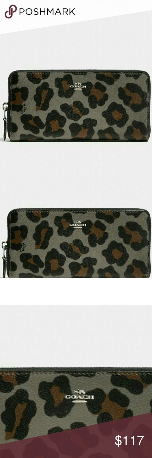 """💖COACH Accordion Zip Wallet 💖💜 Authentic Accordion Zip Wallet.💜  Ocelot Print (Grey/Black/Tan).  The interior is leather and black sateen fabric and contains 12 card slots, a zippered coin compartment and multiple bill slots.   It measures approximately 7.75"""" (L) x 4"""" (H) x 1"""" (W).   💜☆ Brand New. With tags.  Never Used. ☆💜  Bundle with other items for additional 10% Discount. 💖   💖 PERFECT GIFT FOR VALENTINE'S DAY!! 💖 Coach Bags Wallets"""
