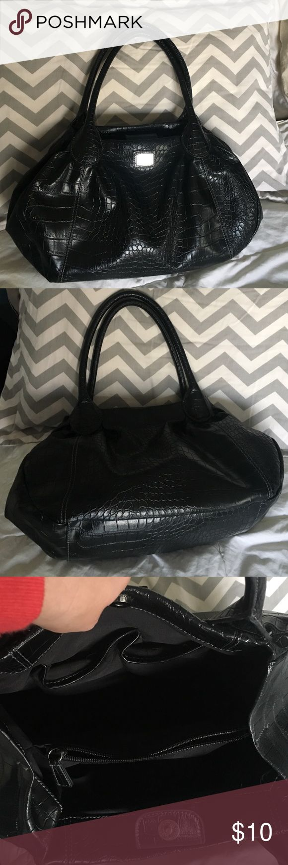 New York and company imitation crocodile handbag Black imitation crocodile bag to handles several compartments inside good condition New York & Company Bags Shoulder Bags
