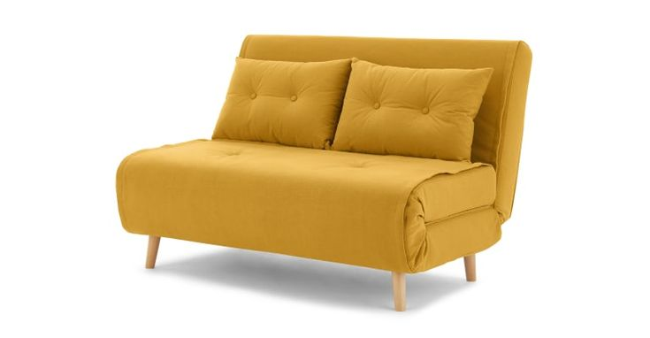 Haru Petit Canape Convertible Bouton D Or In 2020 Small Sofa