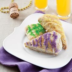 King Cake Scones! But you can make them anytime with any color of sanding sugar!