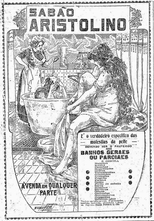 Propaganda do Sabão Aristolino em 1916: para banhos gerais ou parciais.