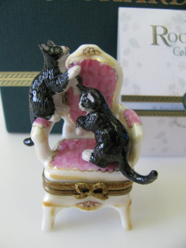 Limoges - Two Black & White Cats on the Chair
