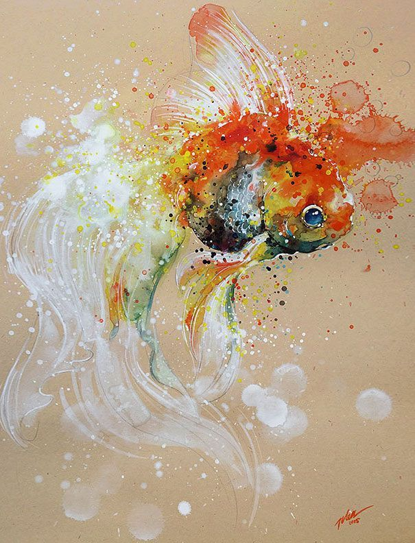 Splashed Watercolors Capture Animal Energy In Art By Tilen Ti | Bored Panda