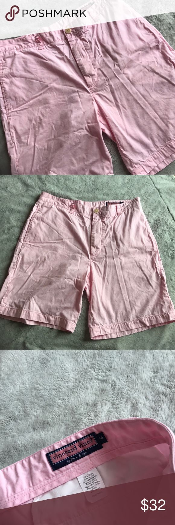 Vineyard Vines Men's Club Shorts Light Pink Good used condition. Club Shorts by Vineyard Vines in light pink. Traditional four-pocket, flat front design. Whale logo patch above back right pocket. 100% cotton twill. Note: small spot on front left leg & (mud/grass) marks on back, can likely be removed by cleaning. Slightly wrinkled from storage. Size 34, see photos for measurements. Vineyard Vines Shorts Flat Front