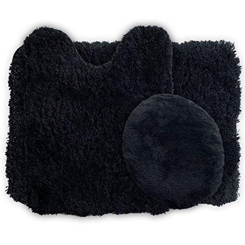 Lavish Home 3-Piece Super Plush Non-Slip Bath Mat Rug Set Black