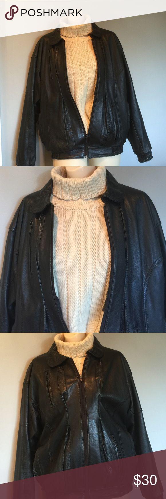 Black Leather Bomber Jacket Very good condition, sz small Wen Jackets & Coats