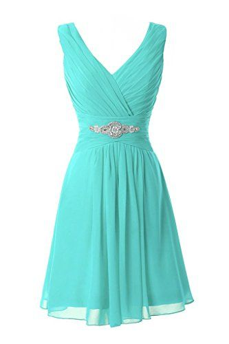 Manfei Women's V-Neck Chiffon Short Bridesmaid Dress Party Dress Turquoise Size 2 Manfei http://www.amazon.com/dp/B01CL6KHNU/ref=cm_sw_r_pi_dp_yjI3wb0354TNY