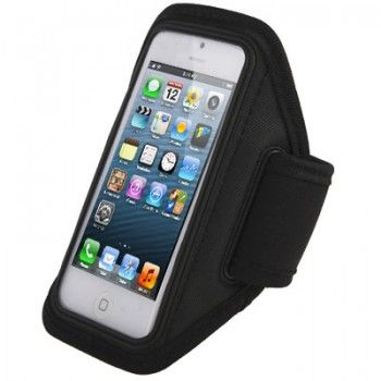 Armband Case with Earphone Slot for iPhone - Black